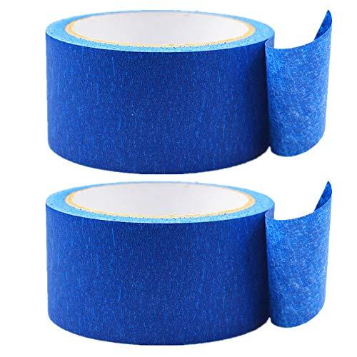 Limeo Cinta de Enmascarar Azul Cinta de Pintor Azul Cinta Adhesiva Impresora de Cinta 3D Cinta Azul Papel Azul de Alta Temperatura Cinta de Enmascarar Profesional Crepé Banda Carrocero