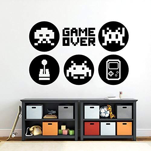 Game over Art Decal video gamer sign joystick puerta ventana vinilo pared pegatina niños niño dormitorio sala de juegos decoración hogar mural cartel
