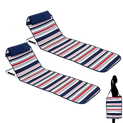 Colchoneta de playa con respaldo ajustable, tumbona plegable, ajustable en 5 niveles, portátil, color azul, 2 unidades
