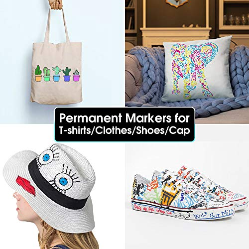 Fabric Markers Permanent for T Shirts Baby Clothes Onesies Bibs White Pillow Canvas Tote Bags Clothing - No Bleed - Fine Tip - Child Safe & Non Toxic. JR.WHITE Fabric Paint Pens Set of 24 Colors