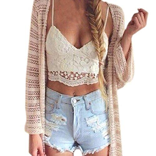 Amlaiworld Frauen Crochet Behälter Unterhemd Spitze Weste Bluse Bralet Bra Crop Top (L, A - Weiß)