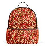 Mochila roja con nubes chinas, para mujeres, adolescentes, niñas, bolso de moda, para viajes, universidad, casual, para niños