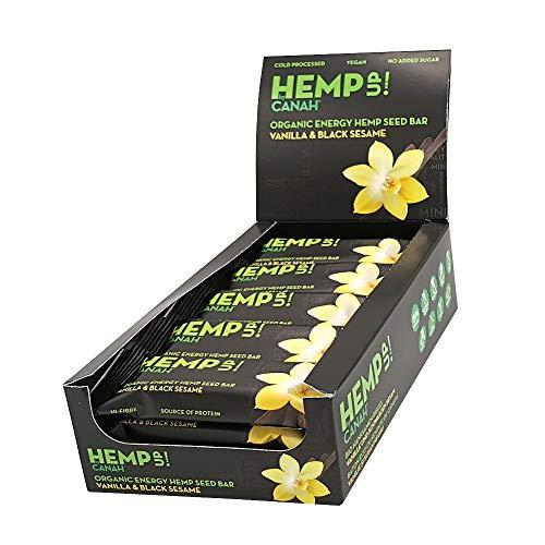 Canah Hemp Up Barritas Energéticas Orgánicas con Semillas de Cáñamo, Vainilla y Sésamo Negro, Paquete de 15 x 48 grams 100% Natural, Fuente de Proteína, Sin Gluten, Procesado en Frío
