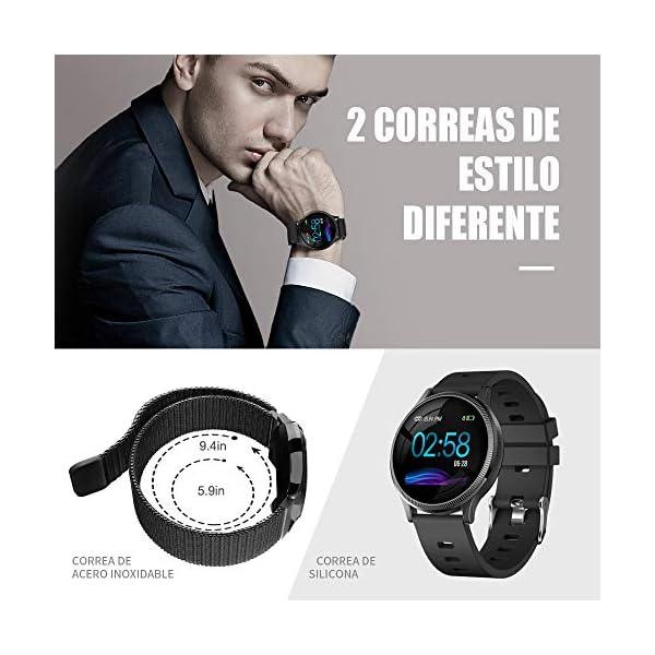 BANLVS Reloj Inteligente, Smartwatch IP67 1.22 Pulgadas Pulsómetro, Monitor de Sueño, Presión Arterial,Pulsera Actividad… 2