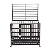 Silverylake 37'' Indestructible Heavy Duty XL Dog Crate Kennel Playpen Pen Homey Pet Animal with Tray and Wheels