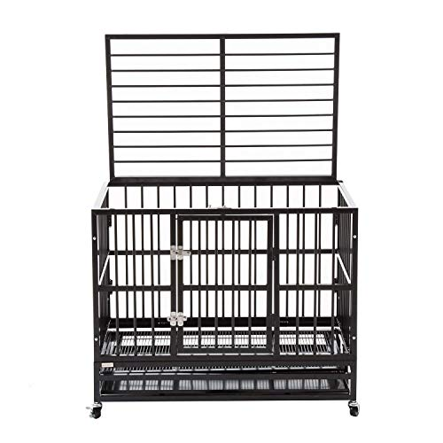walnest Heavy Duty Dog Cage Strong Folding Metal Crate Large Kennel