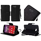 Kyocera Hydro Air C6745 Case, Luckiefind PU Leather Flip Wallet Credit Card Cover Case, Stylus Pen, Screen Protector Accessory (Wallet Black)