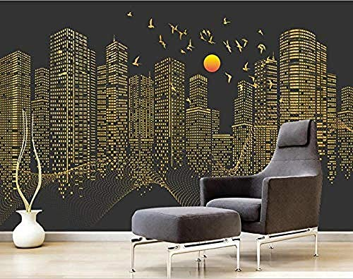 XHXI Abstract Golden Squares Sidewall Wallpaper City Building Tall Building Silhouette for Home Bedroom Living Room Wall 3D Wallpaper Paste Living Room The Wall for Bedroom Mural border-400cm×280cm