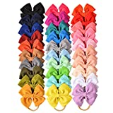 30 PCS Big Bows Baby Nylon Headbands Hairbands Hair Bows Elastics for Baby Girls Newborn Infant...