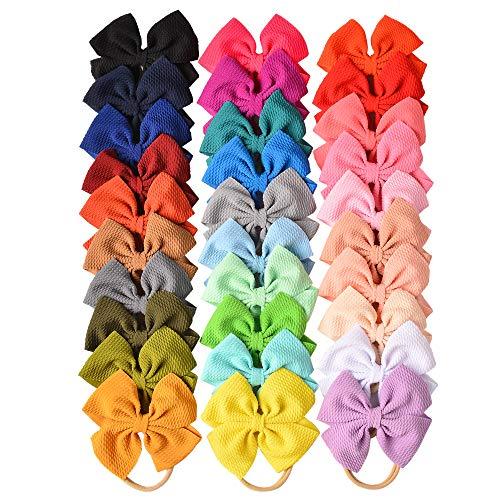 30 PCS Big Bows Baby Nylon Headbands Hairbands Hair Bows Elastics for Baby Girls Newborn Infant Toddler Child Hair Accessories