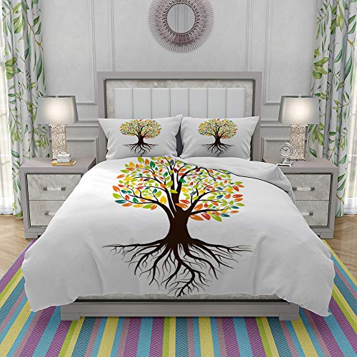 VICCHYY Duvet Cover Set-Bedding,Autumn Silhouette Of A Tree With Colored Leaves Tree With Roots Isolated On White,Quilt Cover Bedlinen-Microfibre 200x200cm with 2 Pillowcase 50x80cm