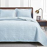 Love's cabin King Size Quilt Set Spa-Blue Bedspreads - Soft Bed Summer Quilt Lightweight Microfiber Bedspread- Modern Style Coin Pattern Coverlet for All Season - 3 Piece (1 Quilt, 2 Pillow Shams)