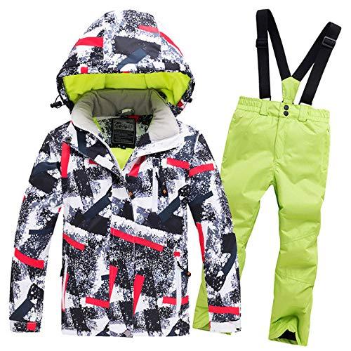 LQCN Kinder Winter Ski Anzug Winddicht Wasserdicht Kinder Outdoor Warm Sport Anzug Mädchen Und Jungen Schneeset Hosen Jacke Winter Skifahren, Farbe5, XL