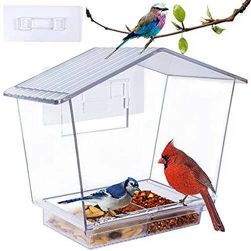 Window Bird Feeder, 10 X 7.3 Inch Cardinal Bird Feeder with Removable Sliding...
