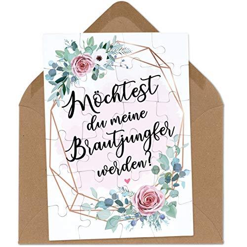 OWLBOOK Brautjungfer Fragen rosa Blumenkranz Puzzle mit Brief-Umschlag Geschenke Geschenkideen für Brautjungfer zur Hochzeit & Verlobung