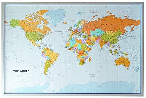 Politische Weltkarte auf Kork-Pinnwand, englisch, 90x60cm: 1:46,4 Mio.