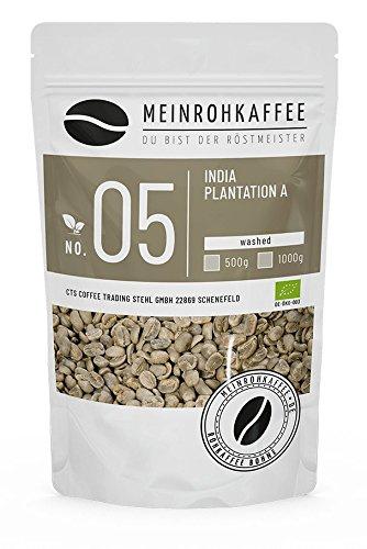 Rohkaffee - India Plantation A (grüne Kaffeebohnen) - mittelkräftig, nussig, schokoladig, würzig - 500g