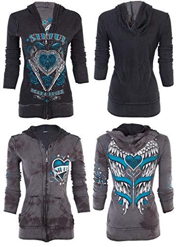 Affliction Sinful Women Reversible Hoodie Zip UP Jacket Love Bandit Wings (Medium) Black
