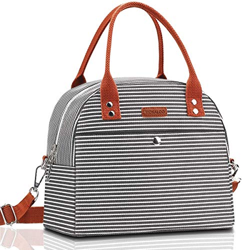 Lunch Bag, Mokaloo Insulated Lunch Box for Women, Multi-functional Lunch Tote Bags with Shoulder Strap, Reusable Thermal Cooler Bag Lunch Container for Women Men Work Picnic, Stripe