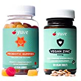 Yuve Vegan Probiotic Gummies & Vegan Zinc 50mg Bundle - Digestion & Immunity Boost - Vegan, Natural, Non-GMO