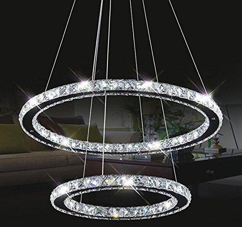 Tenlion, lampadario in cristallo, lampadario a sospensione, lampadario da soffitto, forma ellittica, 40cm x 60cm, bianco neutro