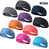 DASUTA Set of 10 Women's Yoga Sport Athletic Headband for Running Sports Travel Fitness Elastic Wicking Workout Non Slip Lightweight Multi Headbands Headscarf fits All Men & Women (Style 1-10 Color)