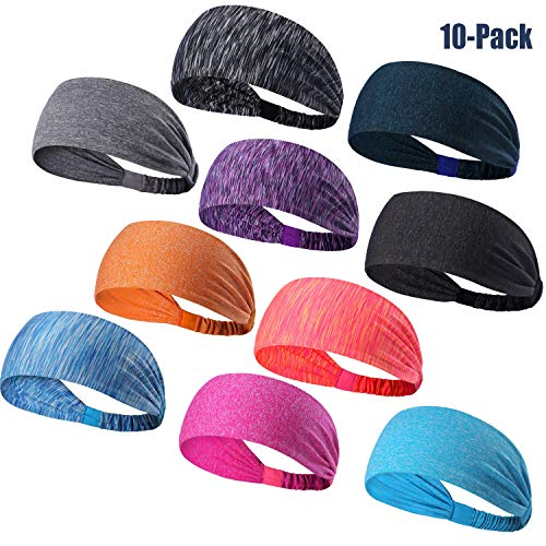 DASUTA Set of 10 Women's Yoga Sport Athletic Headband for Running Sports Travel Fitness Elastic Wicking Workout Non Slip Lightweight Multi Headbands Headscarf fits All Men & Women (Style 1-10 Color)