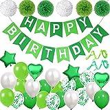 DANXIAN Deko Grün Happy Birthday Girlande Geburtstagsdeko Luftballon Grün für Geburtstag...