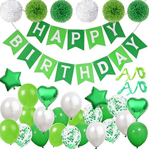 DANXIAN Deko Grün Happy Birthday Girlande Geburtstagsdeko Luftballon Grün für Geburtstag Partydeko Mädchen Junge