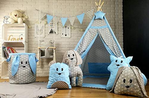 Tipi Teepee 6 Zubehör Spielzelt Kinder Zelt Kinderzelt Indianer Decke 4 Tierkissen Kissen (Grau Sterne-Blau Punkte(5))