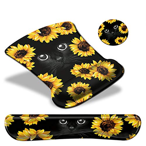 Keyboard Wrist Rest Pad & Mouse pad with Wrist Rest Support Set,Ergonomic Gaming Mouse Pad Coaster Keyboard Wrist Support with Memory Foam for Easy Typing Pain Relief - Sunflower and Black Cat