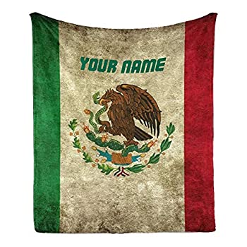 CUXWEOT Custom Blanket with Name Text,Personalized Grunge Mexican Flag Super Soft Fleece Throw Blanket for Couch Sofa Bed  50 X 60 inches
