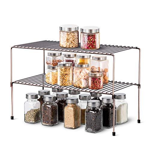 WOSOVO Expandable Stackable Cabinet Shelf Kitchen Counter Rack Organizer Multipurpose Pantry Bedroom Bathroom Storage Racks 2 Pack