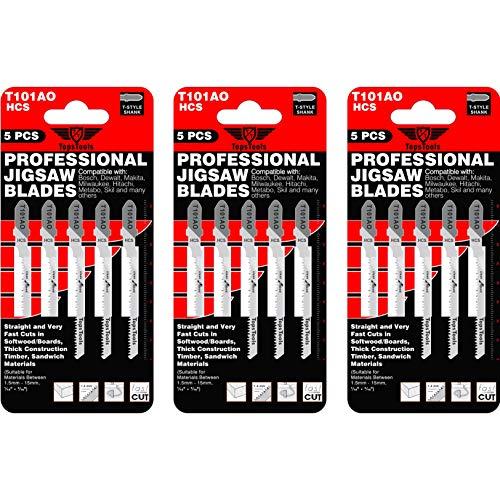 15 x TopsTools T101AO Stichsägeblätter für Bosch, Dewalt, Makita, Milwaukee und viele mehr