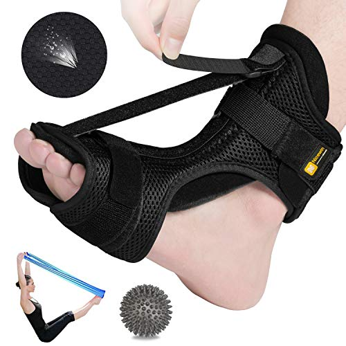 Plantar Fasciitis Orthotic Night Splint-Breathable Foot Stretcher Adjustable Ankle Brace Arch Support Massage Ball for Pain Relief of Drop Foot Achilles Tendonitis