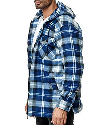 EGOMAXX Herren Thermohemd Holzfäller Hoodie Kapuze Jacke Kariert Warm Gefüttert, Farben:Blau, Größe Jacken:XL