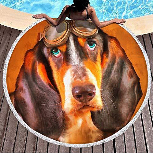 Hothotvery Toallas de playa redondas con borlas Vintage Perro con Gafas Pinturas Impresas Toalla de baño para jóvenes White 150 cm