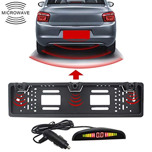 Lowest Prices! JSANSUI Parking sensors Front and Rear Wireless Europe Car License Plate Frame Parkin...