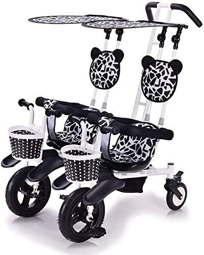 Knoijijuo Kinder-Doppel-Dreirad Leichtes 2-Sitzer-Fahrrad-Doppel-Kinderwagen Mit Abnehmbarem Baldachin, Sicher Und Komfort Für Kinder Von