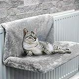 Cama de radiador para gatos, 46 x 30 x 25 cm, cama para colgar en el radiador, de felpa, suave, cálida, extraíble, lavable, hamaca para gatos, para calefacción para mascotas, gatos, gatos, (gris)