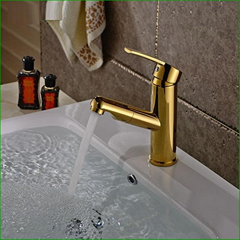 Bijjaladeva Wasserhahn Bad Wasserfall Mischbatterie WaschbeckenAntique-Brass Chrom Gold Bad Küche Waschbecken und kaltem Wasser Mischen Kann Wasser gepumpt Werden,Single-Tap