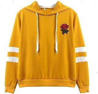 Howely Womens Embroidered Hood Tshirt Rose Pinstripe Blouse Shirt Sweatshirt