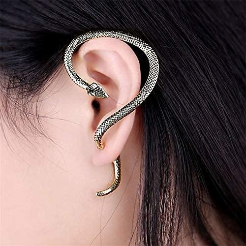 MENG 2 Unids Vintage Twine Vintage Snake Earp Pendientes para Mujeres Hombres Ear Clip Puños Rock Estilo Cartílago Piercing Joyería Puños Puños,Oro