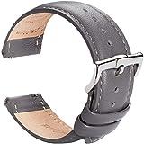 B&E Cinturini per Orologi Cinturino in Pelle a Sgancio Rapido- Cinturini Stile Elegante Braccialetto per Uomo Donna - 16mm 18mm 19mm 20mm 21mm 22mm (20mm, Cement Gray Leather)