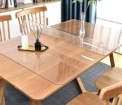 SWD TWTH Protector de mesa transparente, PVC transparente para mesa, mantel impermeable y antideslizante, funda rectangular para muebles (60 x 100 cm)
