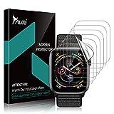 TAURI [6 Stücke Schutzfolie für Apple Watch Series 5/4 44mm & 42mm Series 3/2/1 Bildschirmschutz, [Klar HD][Blasenfreie] Weich TPU Folie Bildschirmschutzfolie