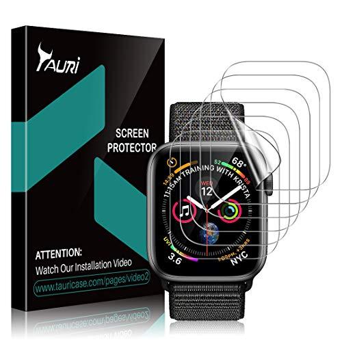 TAURI [6 Stücke Schutzfolie für Apple Watch Series 5/4 44mm und 42mm Series 3/2/1 Displayschutz, [Klar HD][Blasenfreie] Weich TPU Folie Displayschutzfolie