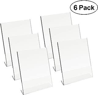 8.5 X 11 Acrylic Sign Holder Slant Back Design Clear Table Single Sheet Portrait Ad Frames for Home, Office, Store, Restaraunt - 6 Pack (6)