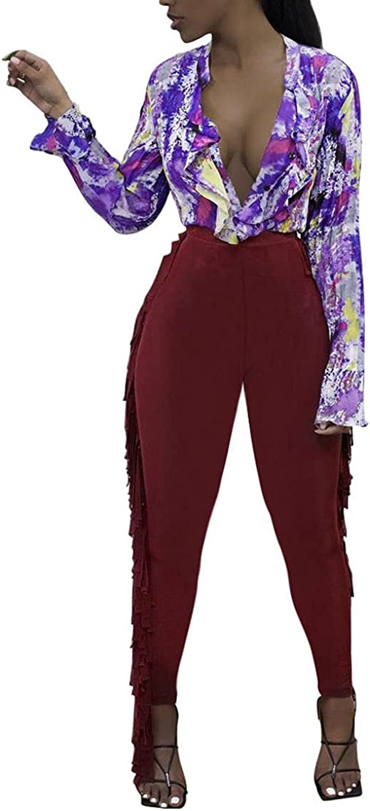 Xikerswo Women's Tassel Pants Skinny Fashion Casual Long High Waist Pant