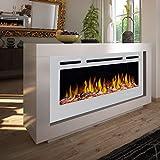 Noble Flame Nevada – Chimenea eléctrica de diseño moderno en ambos lados – ambiente de fuego con LED con función de calefacción – Horno de 97 cm – blanco
